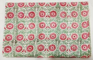 Indian Kantha Quilt Bedspread Gudri Hand Block Print Cotton Coverlet Bedding V