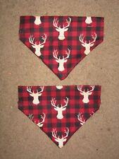 Buck heads on red and black plaid Dog Bandana - 5 sizes XS - XL