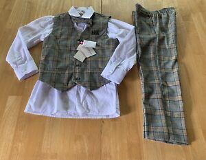 Isaac Mizrahi Boys Suit Size 7 Tan Plaids 4 Piece Vest Tie Shirt Pants New