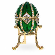 Crystal Rhombus on Green Enamel Royal Inspired Russian Egg 3.15 Inches