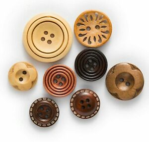 Brown Solid Wooden Fabrics Covered  Buttons Sewing Scrapbooking Clothing 30 Pcs