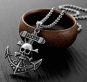 Vintage Silver Skull Head Anchor Viking Silver Pirate Pendant Necklace Chain
