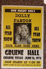Dolly Parton Concert Tour Poster 1974 Gruene Hall 1974
