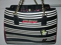 Betsey Johnson Stripe Satchel / Purse  Used, Mint Condition-Black White Beauty!