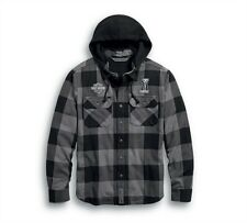 Harley-Davidson Lined Hooded Shirt Jacket #1 Bar & Shield Embroidered  99007-20V