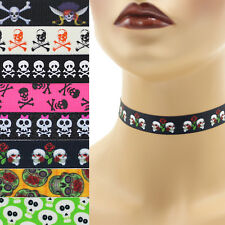 Skulls Choker 5/8 inch Custom Necklace 15 mm 16 mm 17 mm Halloween Crossbones +