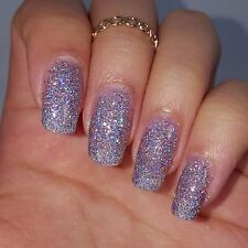 LAVENDER AND SILVER HOLOGRAPHIC GLITTER Shiny Nail Polish 5 free Cruelty Free