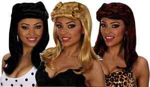 Ladies Long Pin Up Girl Wig Curls 20s 40s 50s Glamour Model Blonde/Brown/Black