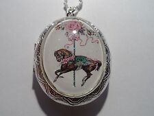 ALTERED ART VICTORIAN ROSE CAROUSEL HORSE LOCKET NECKLACE 26""