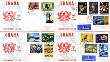Ghana 48-62 FDC, Freimarken 1959-Nationale Symbole, auf 4 gelaufenen FDC