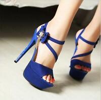 Women's Crystal Heel Peep Toe Platform Stiletto Pump High Heels Shoes Sandals D0