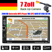 "7"" Doppel 2DIN BT Autoradio Touchscreen GPS Navigation MP5 MP3 USB AUX SD Player"