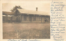 Leeds ME Railroad Station Train Depot Horse & Wagon RPPC Postcard
