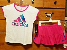 Pink & white Adidas girls skort & tank top matching size 6X nwt retails $48