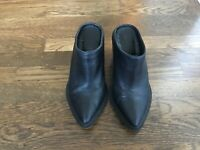 Helmut Lang Schist Black Leather Block Heel Slip On Backless Mule Booties Shoes