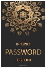 Password Book Large Print Keeper Internet Website Logbook Web Black Gold Mandala