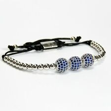 Men And Women Beaded Bracelet 3 Balls Inlaid Blue Crystal 24k White Gold Plating
