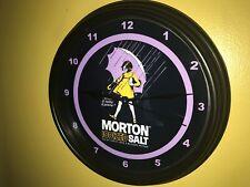 Morton Salt Girl Diner Kitchen Advertising Black Wall Clock Sign