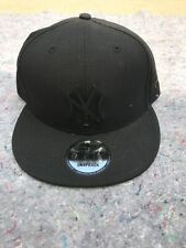New Era 9Fifty Black New York Yankee Black Metal Logo Snapback Hat Cap - NEW