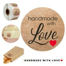 1 Roll 500Pcs Handmade With Love Labels Round Handmade Food Gifts Stickers Craft