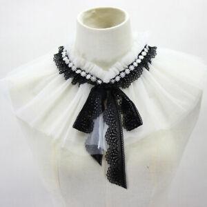 Women Pleated Lace Shawl Bow Collar Detachable Shirt Cotton False Collar 1PC