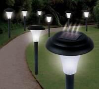 8 X SOLAR POWERED GARDEN LIGHTS POST PATIO OUTDOOR LED LIGHTING Black colour