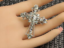 sparkly clear white crystal Christ cross scarf brooch pin girl Birthday gift D32