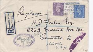 GB 1946 REGISTERED AIRMAI  to SEATTLE VIA NEW YORK RANGE US CANCELS CUSTOMS ETC