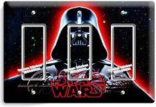 DARTH VADER RED GLOW HALMET STAR WARS DARK FORCE TRIPLE GFCI LIGHT SWITCH DECOR