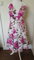 Debut Floral 50s Swing Halterneck Cruise Eye Catching Lined Summer Dress Size 12
