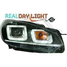LHD Projector LED DRL Headlights Pair Clear Black Chrome Strip For VW Golf 6