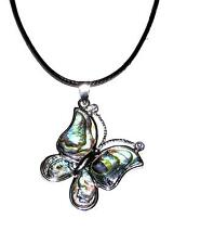 NECKLACE/PENDANT ST Mother Of Pearl Paua Shell Rhinestone Accents BUTTERFLY