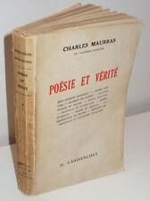 Poésie et Vérité, par Charles Maurras - Lardanchet, 1944, Edition Originale