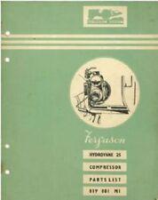 Ferguson Hydrovane 25 Compressor Parts Manual