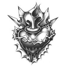 Urban Realistic Temporary Tattoo, Heart w/ Crown of Thorns, Made in USA