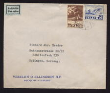 ICELAND 1952 2kr 50 AIR COVER to GERMANY...ELLINGSEN