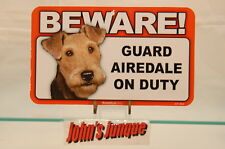 AIREDALE~BEWARE DOG SIGN~LAMINATED CARD~NEW~SCANDICAL~FREE US SHIPPING~