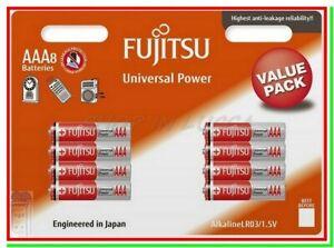 "8 FUJITSU Pile Batterie Alcaline AAA MiniStilo LR03 AM4 MN2400 ""Scadenza 2023"""