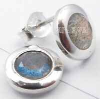 925 Sterling Silver Blue Facetted Labradorite 1.8 TCW Earrings Ladies Gift