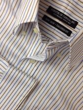 FORSYTH OF CANADA NON IRON TAILORED FIT STRIPED L/S DRESS SHIRT MENS 15.5-34/35