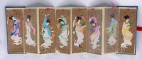 Vintage Bookmarks Handpainted CORK China Japan Chinese Asian Geisha Paper Pieced