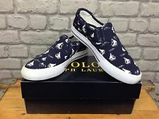POLO RALPH LAUREN UK 7.5 BLUE CANVAS VAUGHN SLIP ON RRP £75 *TWO DIFFERENT SIZES