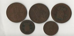 1856 1857 1912 1916 1920 Nederlandsch - Indie - One Cent 1/2 Cent LOT of 5 Coins