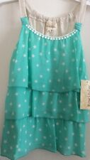 Rewind<< Girls, summer top, size Large,3 teired, Ivory stars on mint green