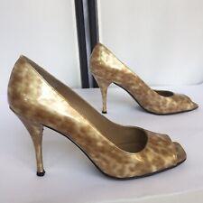 Stuart Weitzman Linda Light Tortoise Patent Leather Peep Toe Pumps Womens 8.5M
