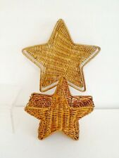 Star Wicker Baskets For Decoration Caddies Gold Painted Set Duo