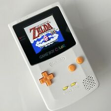White Nintendo Game Boy Color (GBC) with new IPS Backlight and Glass Screen