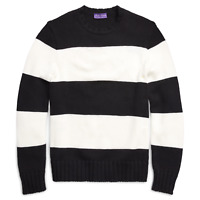 $1,495 Ralph Lauren Purple Label Striped Wool Chunky Knit Crew Neck Sweater