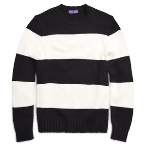 $1,495 Ralph Lauren Purple Label Striped Wool Chunky Knit Crew Neck Sweater
