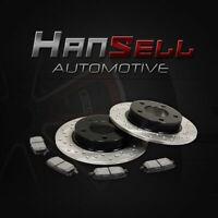 [Rear Cross Drilled Brake Rotors Semi Metallic Pads] Fit 02-06 Acura RSX